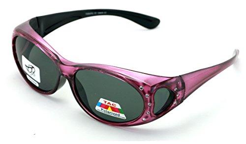 V.W.E. Womens Polarized Fit Over Glasses Sunglasses Rhinestone Rectangular Frame Temple Heart 60mm ()