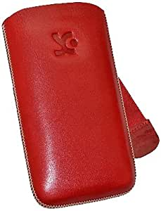 Suncase - Funda de cuero para Samsung GT S5260 Star 2, color rojo