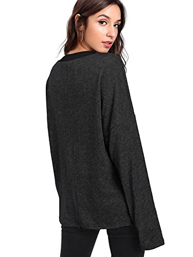 Verdusa Women's Batwing Sleeve Sweaters Jumper Eyelash Lace Pullover Tops Black M by Verdusa (Image #1)