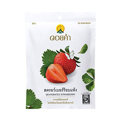3 Packs of Dehydrated Strawberry, Made From Real Strawberry, Delicious Snack From Doi Kham Brand, Royal Project Product from Thailand. Natural Color and Flavor Added. (25 g/ (Sugar Added Fruitcake)