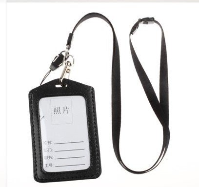 JunShop Assorted Color Faux Leather Business Id Credit Card Badge Holder Clear Pouch Case with Long Neck Strap Band Lanyard (Black - Insert Style Bands Id