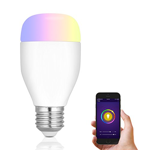 Neropoke Smart WiFi LED Light Bulb, E27 Compatible Amazon Alexa Google Home Multicolored 60W Equivalent Dimmable 16 Million Colors Changing Remote Control Timer Sunrise Sunset Function (1 Pack) by Neropoke