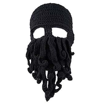 Dealzip Inc® Fashion Black Octopus Cthulhu Shape Knitting Wool Ski Wind Warm Mask Stubble Beard Beanie Hat Cap