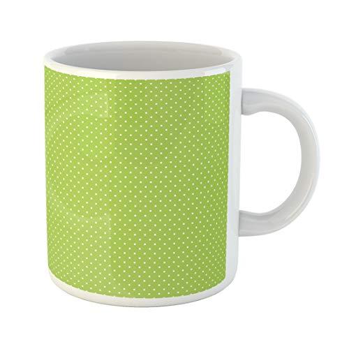 Emvency Funny Coffee Mug White Birthday for Bright Lime Green Small Polka Dots Pattern Polkadots Blog 11 Oz Ceramic Coffee Mug Tea Cup Best Gift Or Souvenir