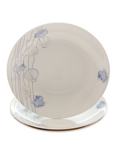 (Tognana 27 cm 3-Piece Pearl Shells Dinner Plates Set, White)