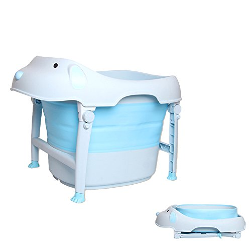 Olpchee Cute Dog Shaped Folding Baby Bathtub Bathing Tub with Seat for Indoor Outdoor Travel (Blue) by Olpchee