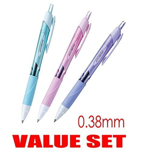 uni-ball Jetstream Extra Fine & Micro Point Click Retractable Roller Ball Pens,-Rubber Grip Type -0.38mm-Black Ink-Color Body Type-Sky Blue,Light Pink,Lavender Body- Each 1 Pen- Value Set of (Light Blue Type)
