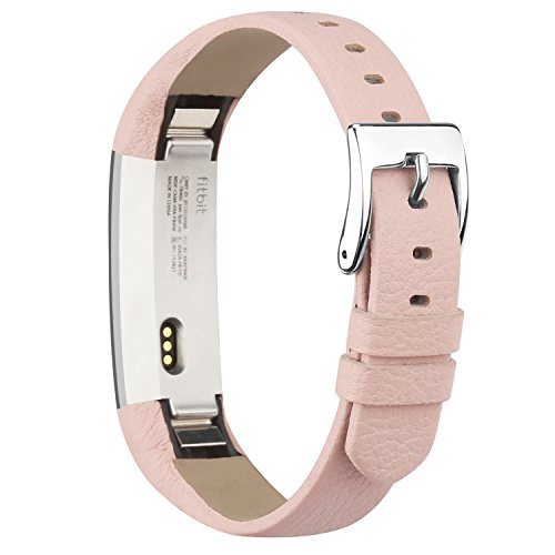 iGK Leather Replacemnt Bands Compatible for Fitbit Alta and Fitbit Alta HR, Genuine Leather Wristbands with Stainless Steel Buckle Pink