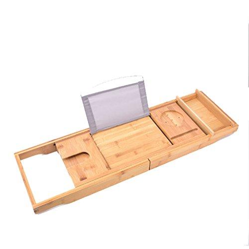 GAOYANG Bathtub Rack Bathroom Stretching Shelf Board Multifunctional Bathtub Partition Bathroom Bath IPad Mobile Phone Stand Bamboo (Color : Natural) by GAOYANGyugangjiazi