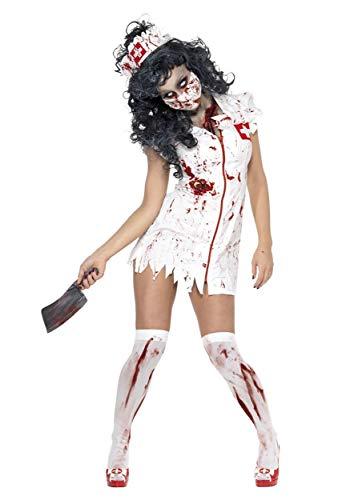 Disfraz de Enfermera Zombi, con Vestido, mascarilla y Adorno para la Cabeza Halloween