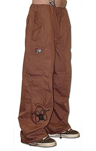 Ufo Pants - Ghast Unisex Cargo Drawstring Rave Dance Pants, Basic Brown Large