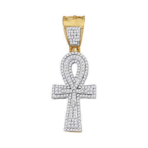 Diamond Mens Ankh Cross Religious Charm Pendant 1/2ct 10k Yellow Gold