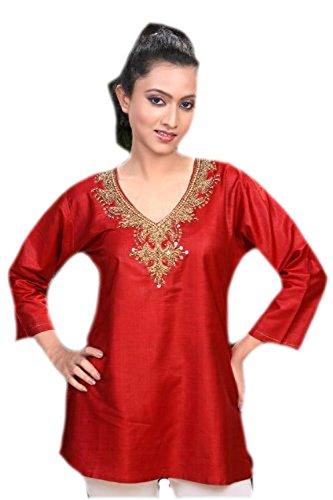 jayayamala Mesdames Tunique vêtements en tissus de coton de soie, col en V, 3/4 manches