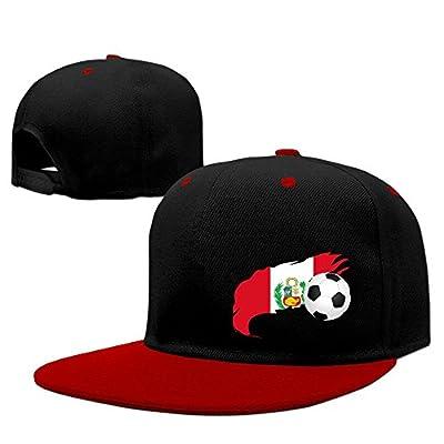 JOWWX-CAP& Soccer Ball with Peru Flag Men's Women's Snapback Baseball Cap Adjustable Flat Brim Hip Hop Cap