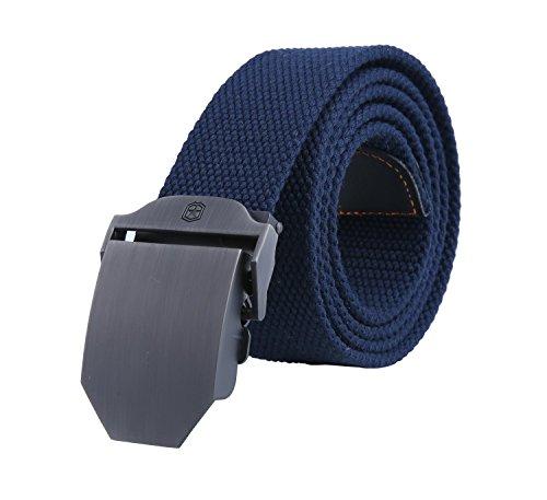 Kobwa(TM) Mens Slider Buckle Military Style Long Canvas Web Belt,Dark Blue with Kobwa's Keyring