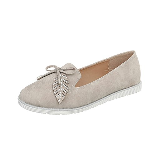 Ital-Design Slipper Damen-Schuhe Halbschuhe Beige Grau, Gr 41, N-58-