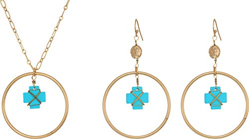 M&F Western Women's Hooped Dangle Turquoise Crosses Necklace/Earrings Set Gold One Size