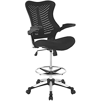 Image of Modway MO-EEI-2286-BLK Charge Mesh Back and Seat with Flip-Up Arms - Reception Desk Chair, Drafting, Black Home and Kitchen