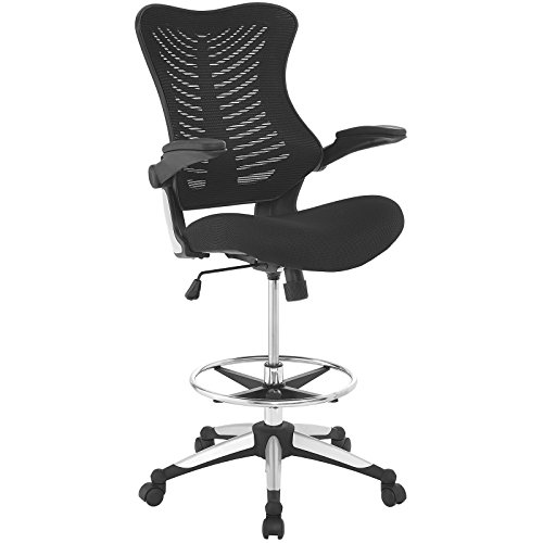 Modway Charge Drafting Chair In Black - Reception Desk Chair - Tall Office Chair For Adjustable Standing Desks - Drafting Table Chair - Flip-Up (Companion Arm Guest Chair)