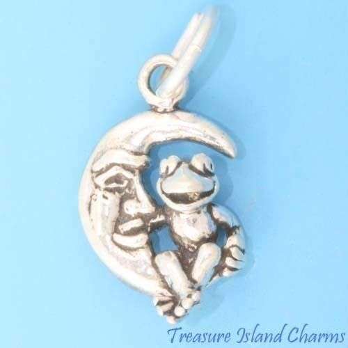 Muppet Kermit Frog On The Moon 3D- .925 Sterling Silver Charm Jewelry Making for Bracelet Pendant -
