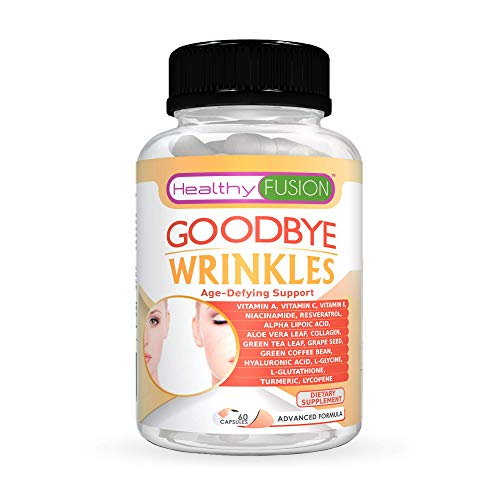 Goodbye Wrinkles - Premium Hydrolized Collagen, Hyaluronic Acid, CoQ10, Alpha-Lipoic Acid, Resveratrol, VIT. E and More - Say Goodbye to Wrinkles - Reveal Hydrated Skin - Extra Strength - 60 Capsules