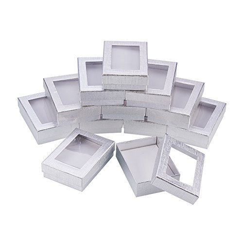 (NBEADS 30PCS Silver Gift Boxes Presentation Box with Padding - Birthday Gift Box - Necklace Box Earring Box Ring Box Cardboard Jewelry Boxes 3.54