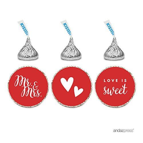 Andaz Press Chocolate Drop Labels Trio, Fits Hershey's Kisses, Wedding Mr. & Mrs., Red, 216-Pack, For Bridal Shower, Engagement Party Favors, Gifts, Stationery, Envelopes, Decor, Decorations (Mason Jar Party Favors compare prices)