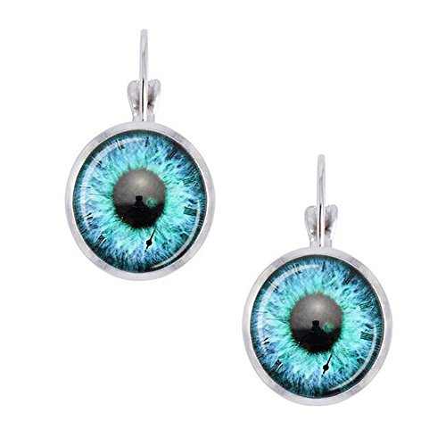 Luck Wang Women's New Fashion Uunique Color Eyes Round Glass Earrings(2#)