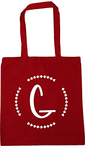 G 10 litres Initial 42cm Bag Classic HippoWarehouse Tote x38cm Beach Gym Shopping Red AdwTCxZq
