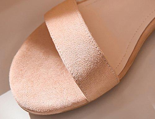 Word De Bajos Zapatos Pink De Grueso Romanos Banda Tamaño Zapatos Mujer De 37 Correa De Tacón De Tacones Color Zapatos Sandalias Zapatos ZCJB Verano HZp0p
