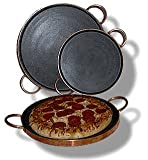 For Grilling and Neapolitan Pizza Enthusiasts - Brazilian Soapstone Grill Pizza Pan Copper Handles : Natural Non-Stick and Non-Toxic Stone Cookware