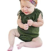 G-real Newborn Infant Baby Girls Tassels Solid Sleeveless Romper Jumpsuit Summer Outfits (Army Green, 3M)