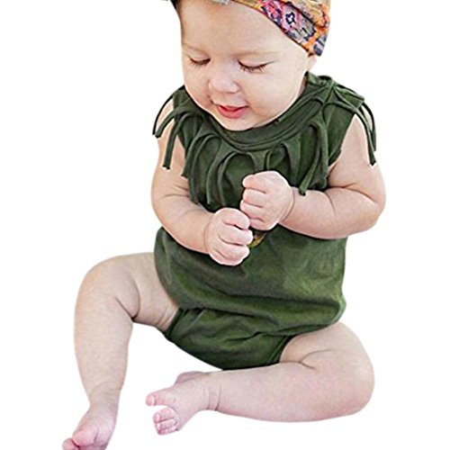 Tank Girl Army (G-real Newborn Infant Baby Girls Tassels Solid Sleeveless Romper Jumpsuit Summer Outfits (Army Green, 6M))