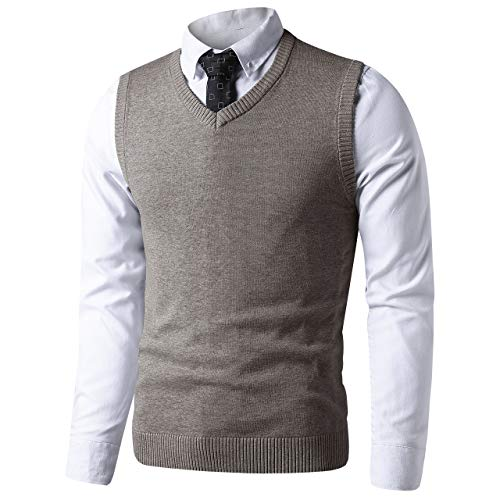 LTIFONE Mens Slim Fit V Neck Sweater Vest Basic Plain Short Sleeve Sweater Pullover Sleeveless Sweaters with Ribbing Edge(Coffee,L)