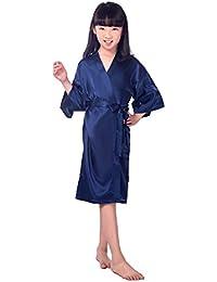 Children s Silk Stain Pure Kimono Wedding Dressing Gown Kimono Robes Bridal  Lingerie Sleepwear 963e916dd