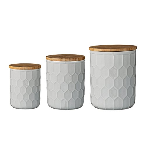 Bloomingville A21700001 Set of 3 White Stoneware Canisters with Bamboo ()