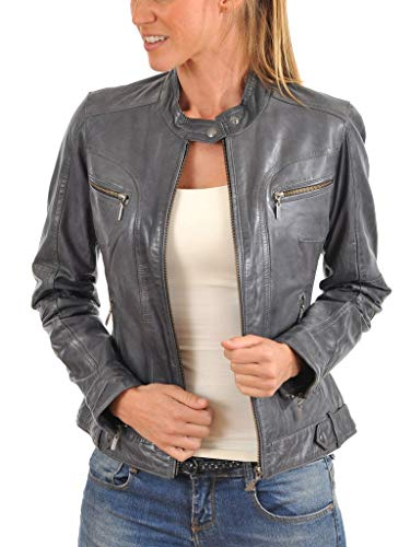 Leather Planet Women's Lambskin Leather Bomber Biker Jacket Medium Gray (Gray Leather Jacket)