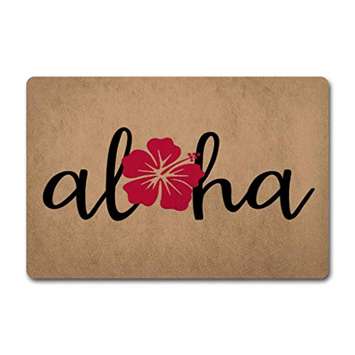CHXCQ Entrance Door Mats Hawaiian Aloha Doormat Welcome Door Rugs (23.6 X 15.7 in) Non-Woven Fabric Top a Anti-Slip Rubber Back Door Rugs Outdoor ()