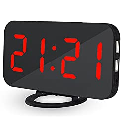EVIICC Electric LED Display Alarm Clock – Can Charge Your Phone, 2 USB ports, Snooze, Dimmer and Battery Backup and 12/24 Hours Red