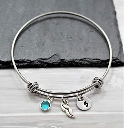 Mustache Bracelet - Personalized Birthstone & Initial - Mustache Costume Jewelry for Women & Girls - Fast Shipping ()