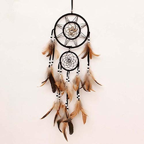 - Davitu Indian Dream Catcher Double Circular Net with Feathers Handmade Wall Hanging Pendant Shell Christmas Decoration New Year Gift - (Color: Brown)