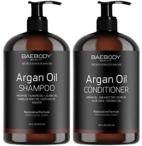 Conditioner Moisturizing Hydrating Hair - Baebody Moroccan Argan Oil Shampoo & Conditioner Set - Volumizing & Moisturizing, Gentle on Curly & Color Treated Hair, for Men & Women. Infused with Keratin -16 fl oz.