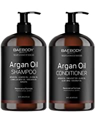Moroccan Argan Oil Shampoo & Conditioner Set 16 Oz - Volumizing & Moisturizing, Gentle on Curly & Color Treated Hair, for Men & Women. Infused with Keratin.