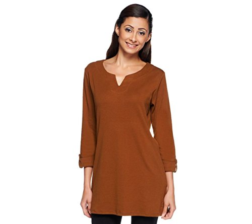 Liz Claiborne NY Chic Essentials 3/4 SLV Knit Tunic Saddle Brown XXS # A236963 Liz Claiborne Woman Blouse