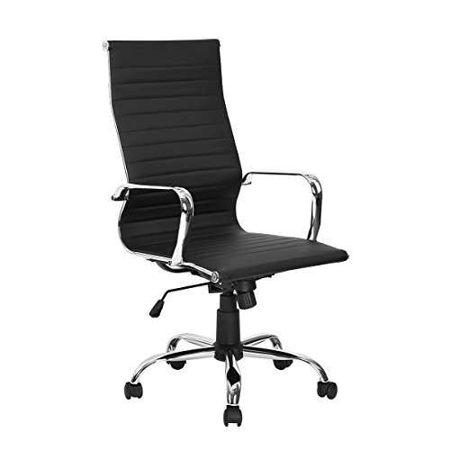 Black High Back Ribbed Upholstered Leather Executive Swivel Office Chair
