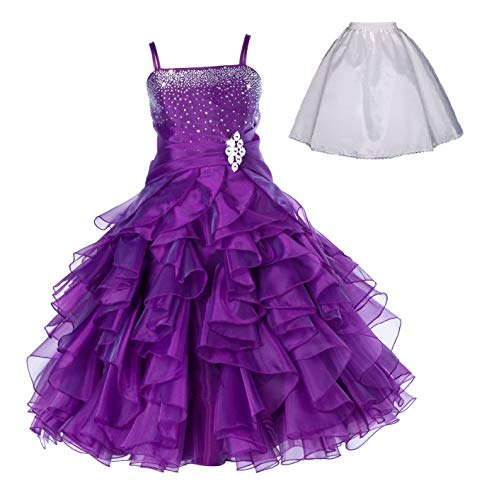 ekidsbridal Elegant Stunning Rhinestone Organza Pleated Ruffled Flower Girl Dress Free Petticoat 164s 12 Purple