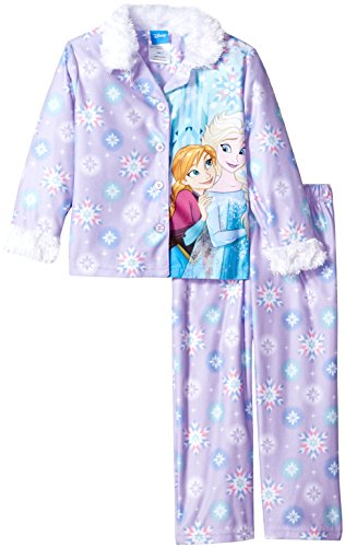 Disney Big Girls' Frozen 2-Piece Pajama Coat Set, Purple, (Purple Girls Pajamas)