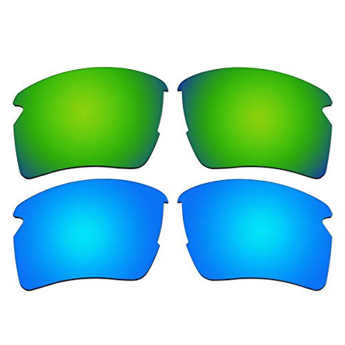 ACOMPATIBLE Replacement Polarized Emerald Green and Ice Blue Lenses for Oakley Flak 2.0 XL Sunglasses