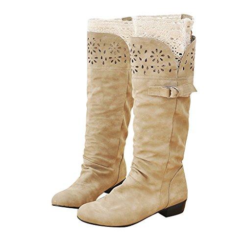 Dear Time Women Suede Fashion Leisure Knee Boots Beige k509qO6gG7