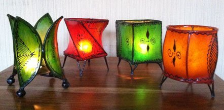 Moroccan 4 Assorted Henna Candle Holder- W10 D10 H15cm- Mix of Colours TABLE LAMP